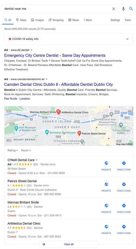 local SEO small business dentist demo