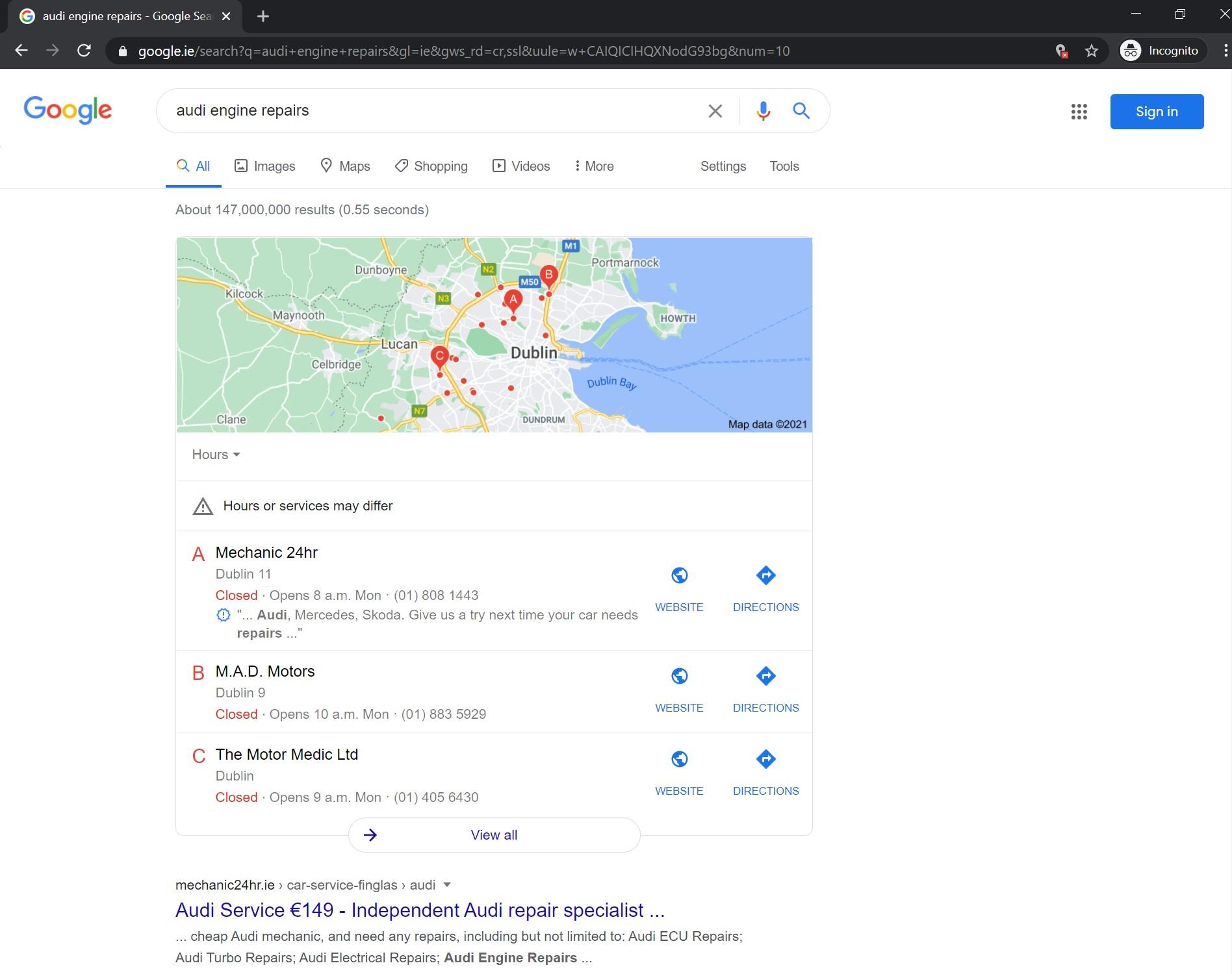 A in Google 3-Pack desktop
